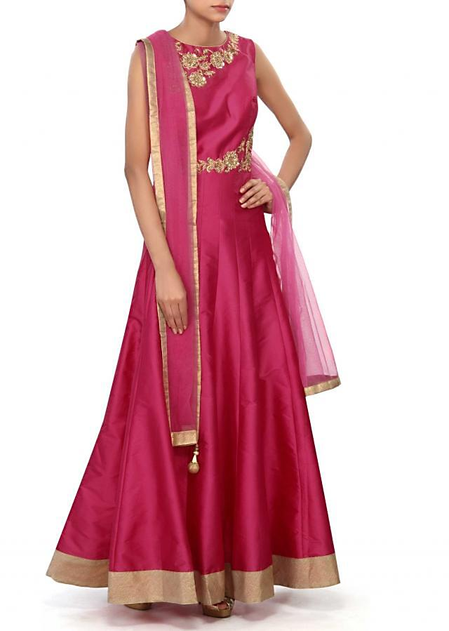 Pink anarkali suit embellished in zardosi and sequin embroidery only on Kalki