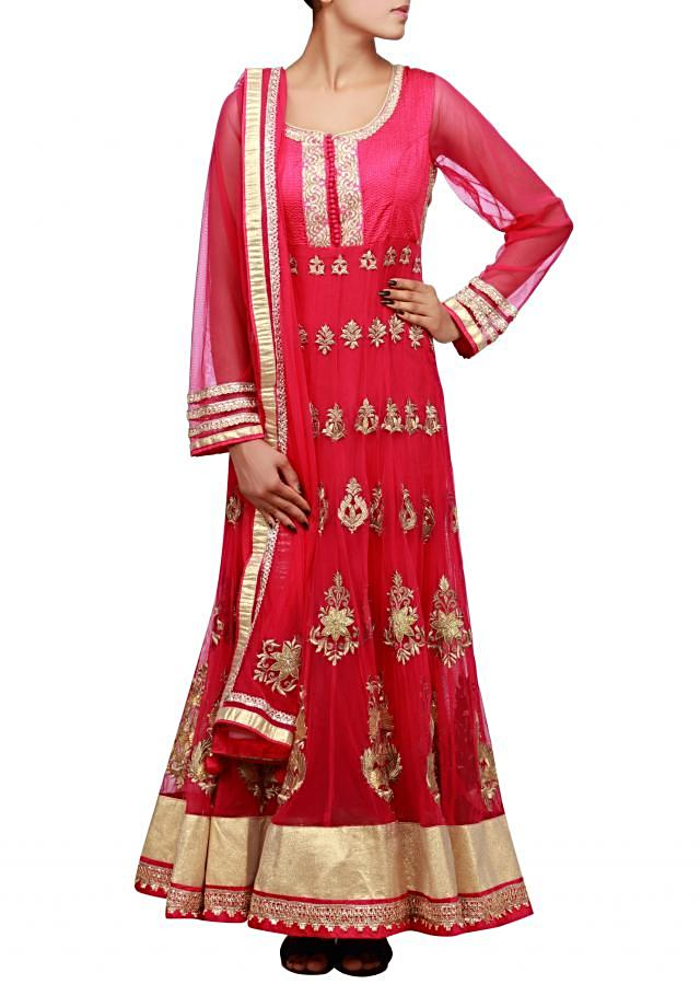 Pink anarkali suit embellished in zari and gotta patti lace only on Kalki
