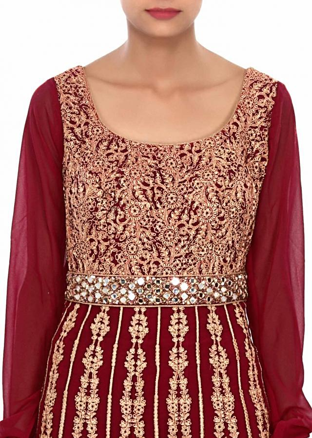 Pink anarkali suit embellished in zari and mirror embroidery only on Kalki