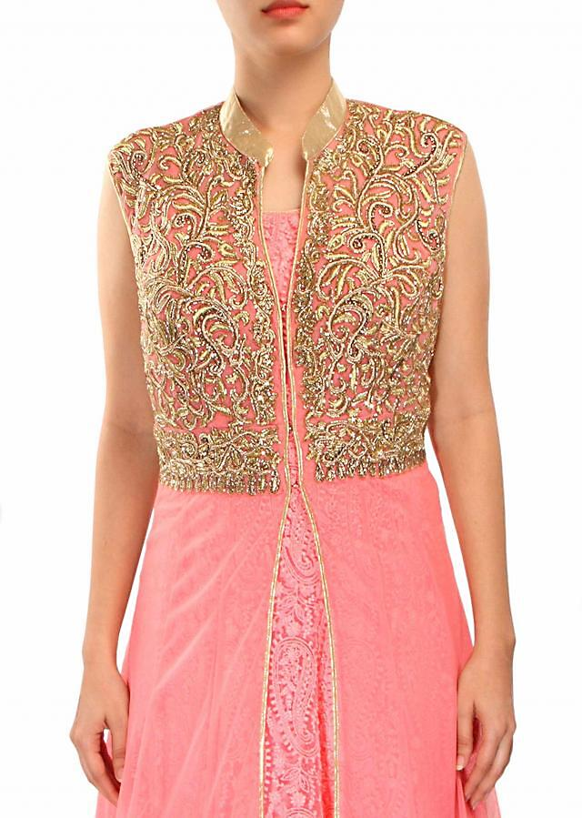 Pink anarkali suit enhanced in thread and zari embroidery only on Kalki