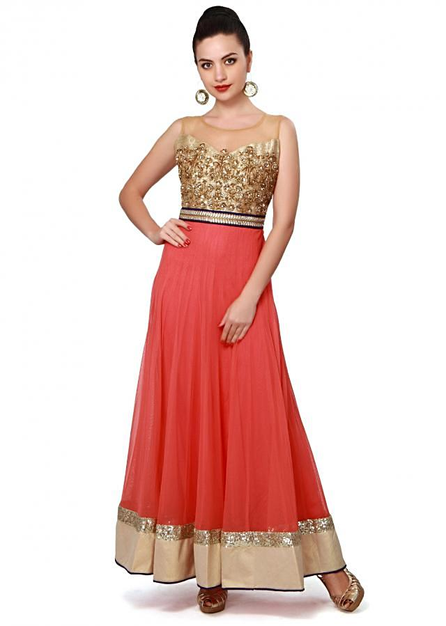 Pink anarkali suit features with embroidered bodice in zardosi only on Kalki