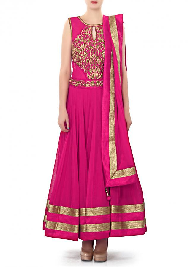 Pink anarkali suit features with zardosi embroidery only on Kalki
