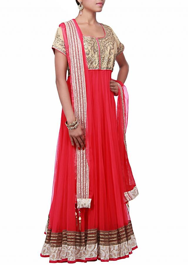 Pink anarkali suit featuring with embroidered yoke only on Kalki