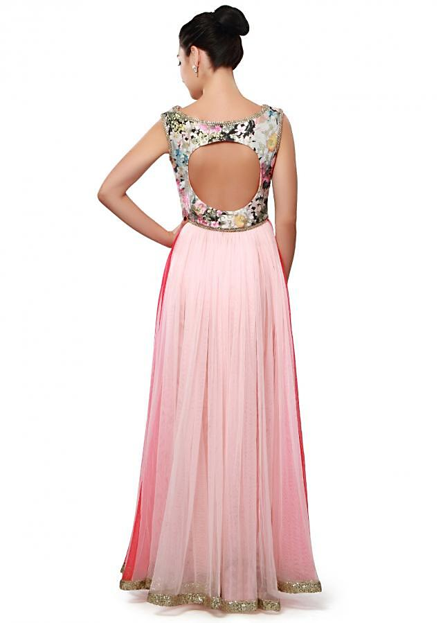 Pink anarkali suit featuring with floral bodice only on Kalki