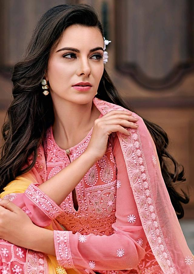Pink Anarkali Suit In Chiffon With Paisley Motif Embroidery In Thread Work Online - Kalki Fashion