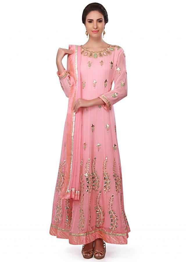 Pink Anarkali Suit In Georgette With Gotta Patch Embroidery Online - Kalki Fashion