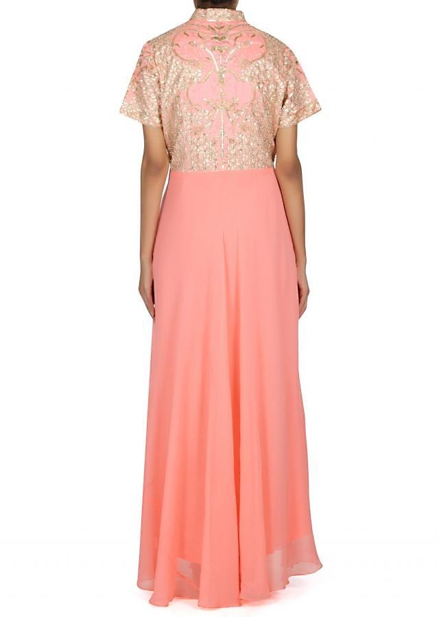 Pink anarkali suit in gotta patch embroidered bodice only on Kalki