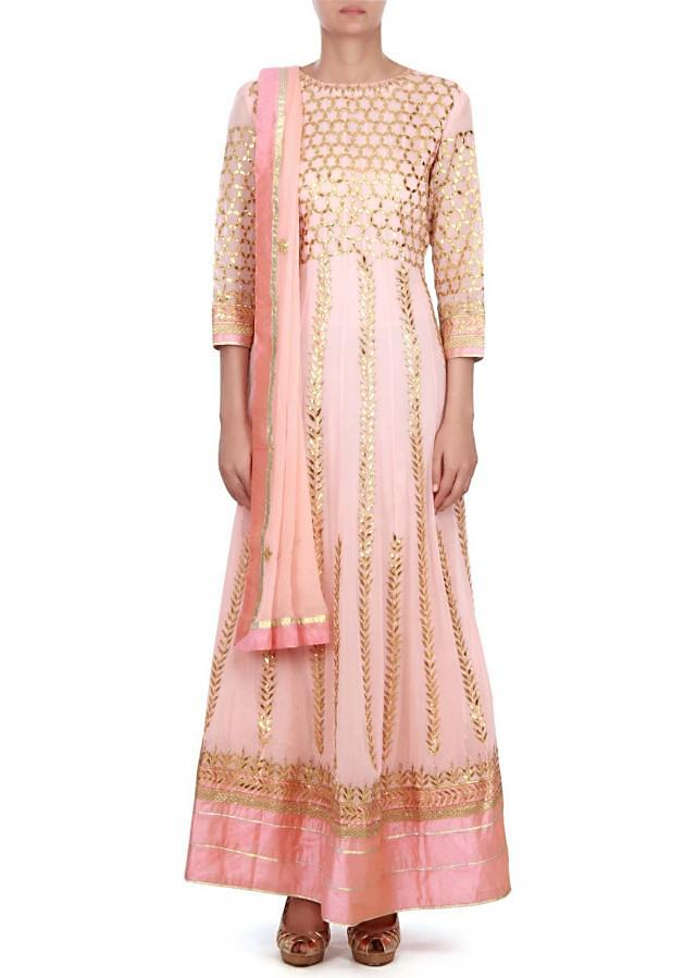 Pink anarkali suit in gotta patch work embroidery only on kalki