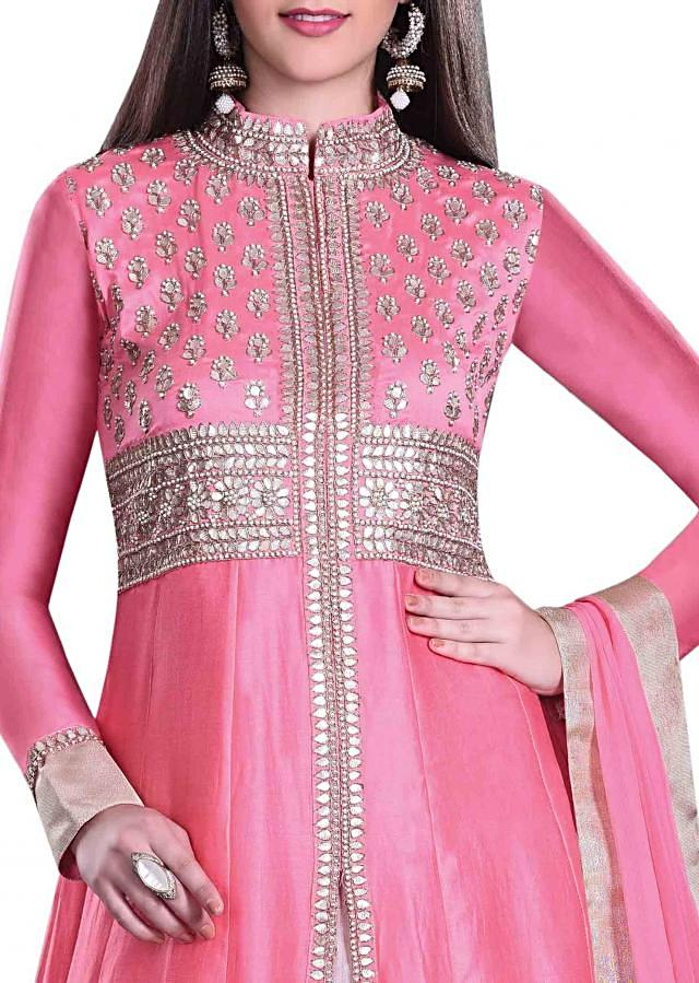 Pink anarkali suit in gotta patch work with lehenga and pants