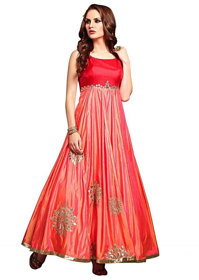 Pink anarkali suit in lurex patch butti only on Kalki