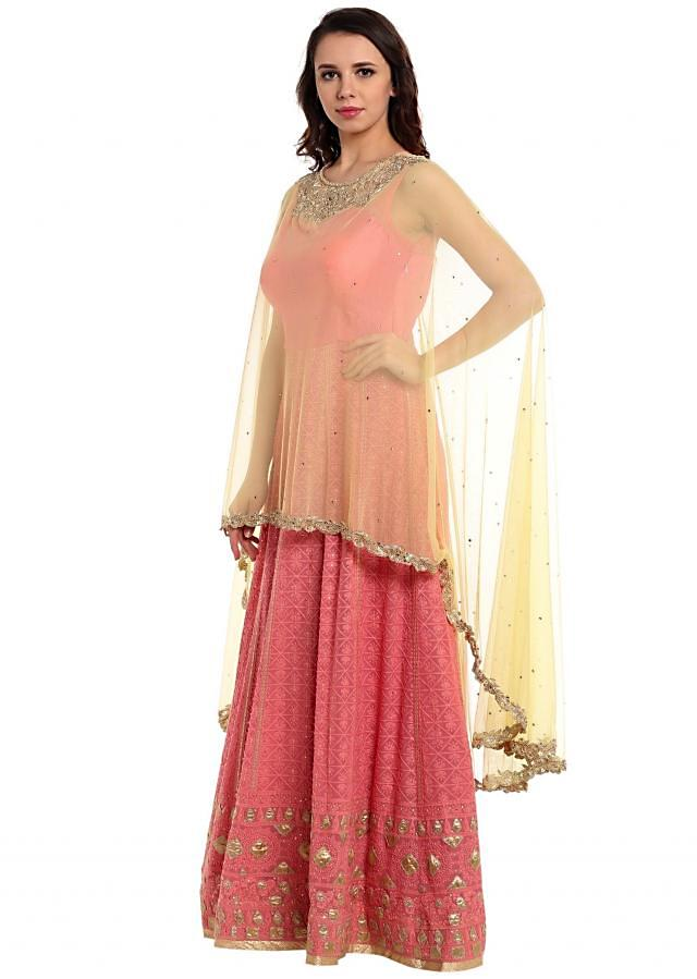Pink anarkali suit with attached cape in kundan work only on Kalki