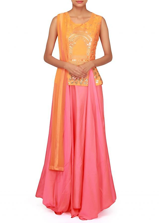 Pink anarkali suit with orange embroidered bodice only on Kalki