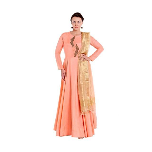 Pink anarkali suit with zardosi embroidered butti at placket only on Kalki