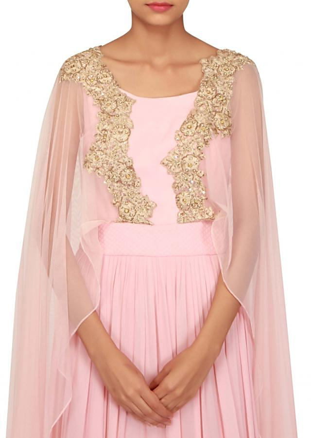 Pink anarkali suit with zari embroidered cape only on Kalki