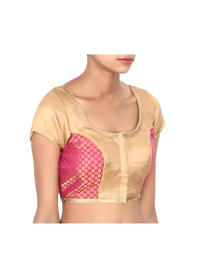 Pink and beige blouse highlighted in gold lace only on Kalki