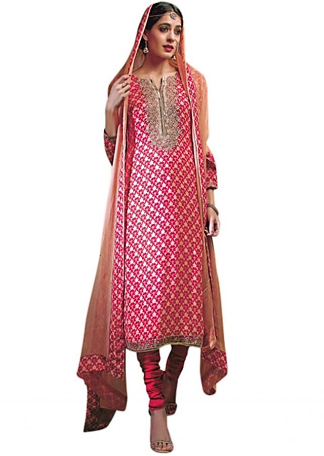 Pink and beige unstitched suit enhanced in sequin embroidery
