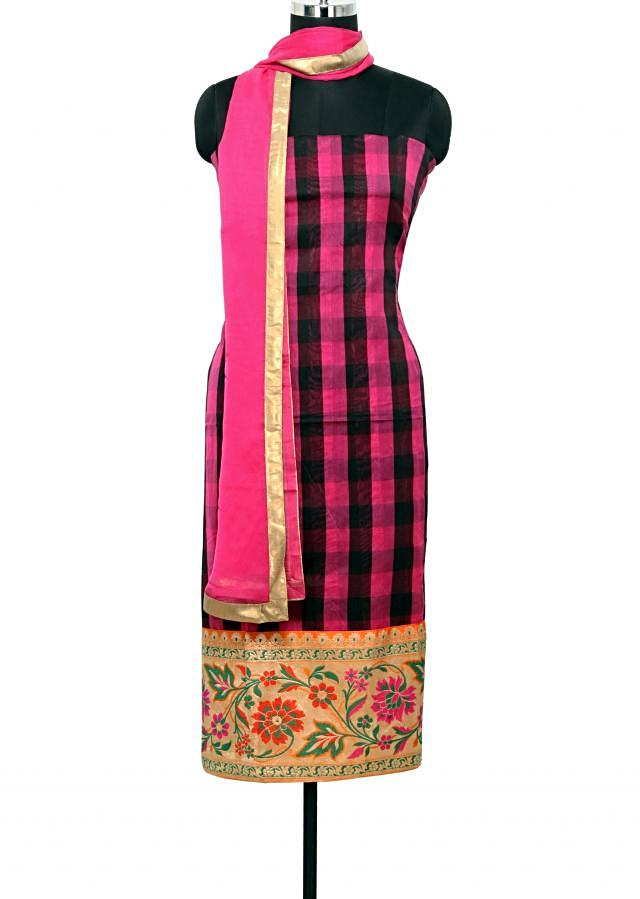 Pink and black checkered unstitched silk salwar kameez in brocade border only on Kalki