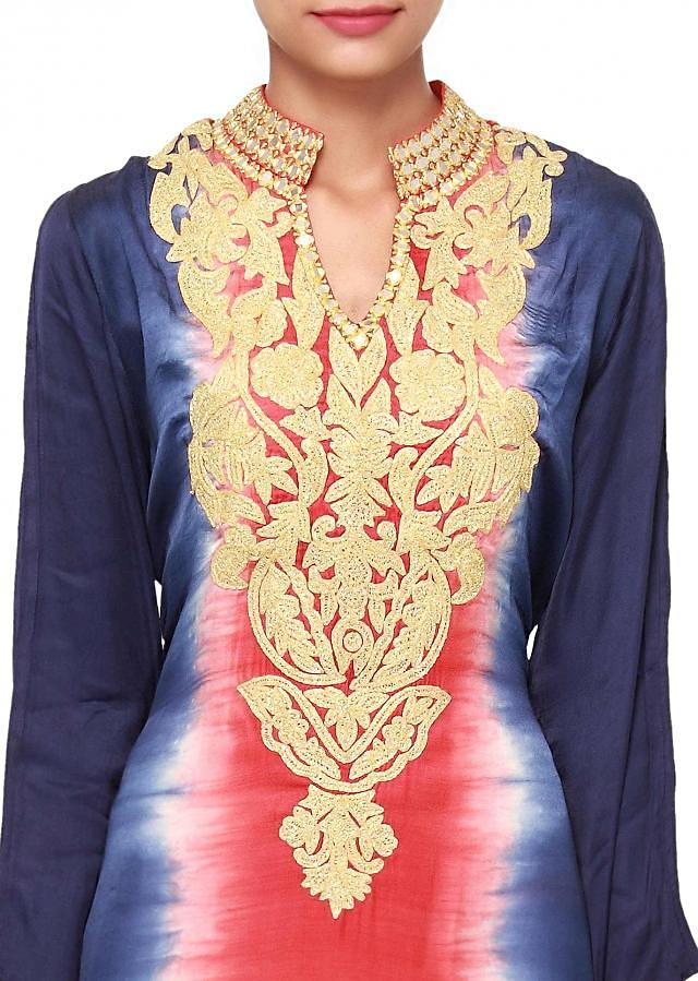 Pink and blue kurti features with embellished neckline only on Kalki