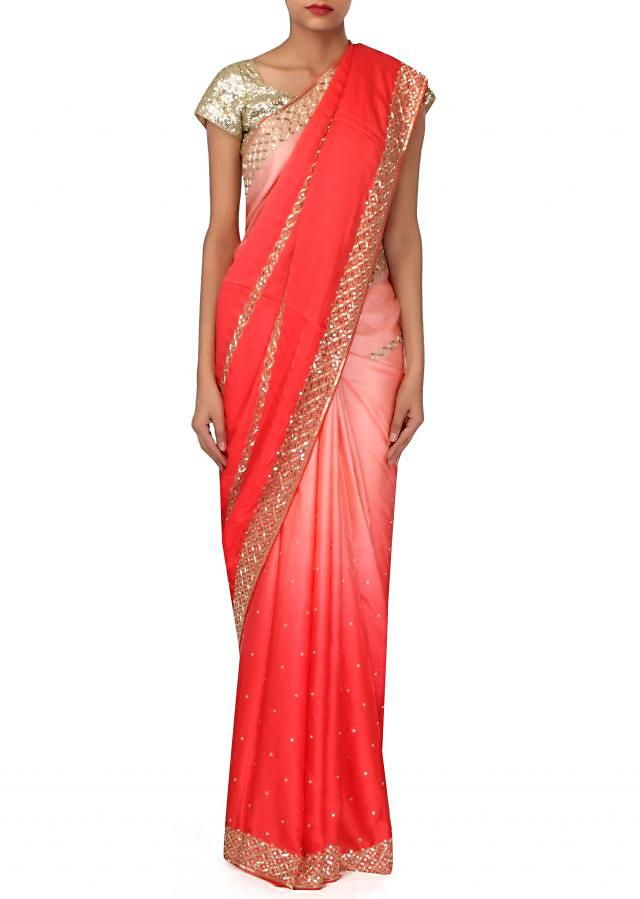Pink and coral shaded saree in gotta patch border only on Kalki