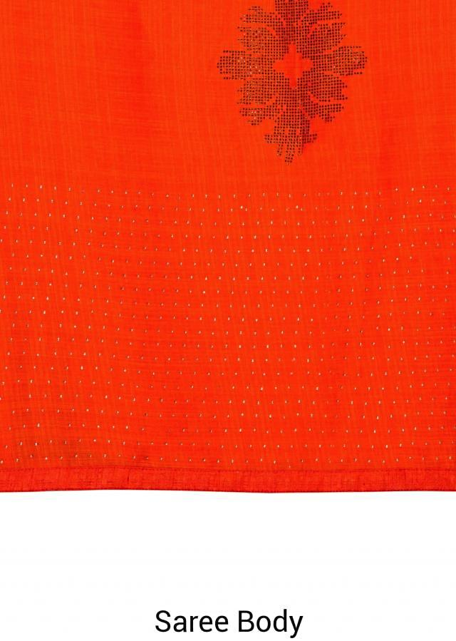Pink and coral silk saree adorned with kundan work only on Kalki