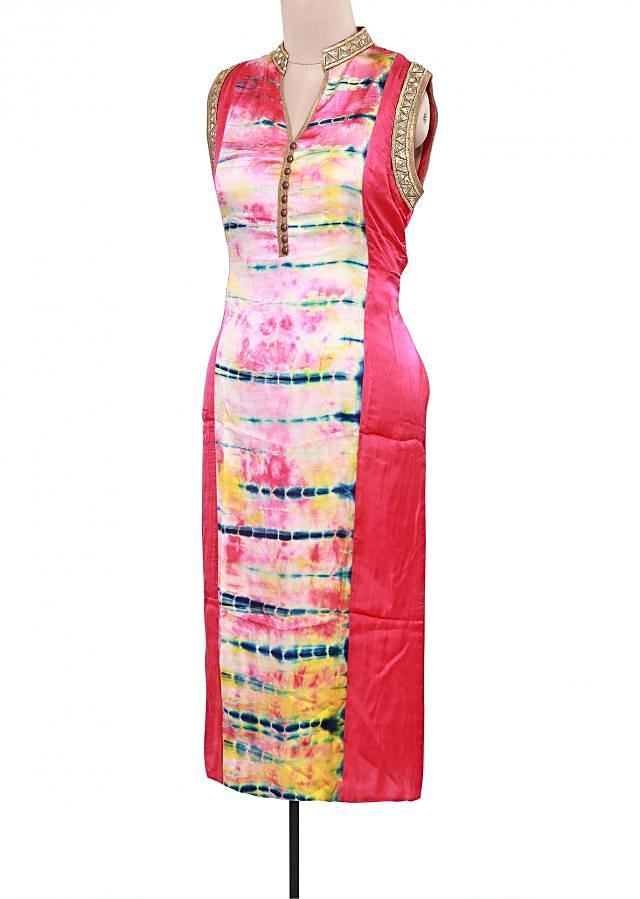 Pink and cream kurti featuring in tie and die only on Kalki