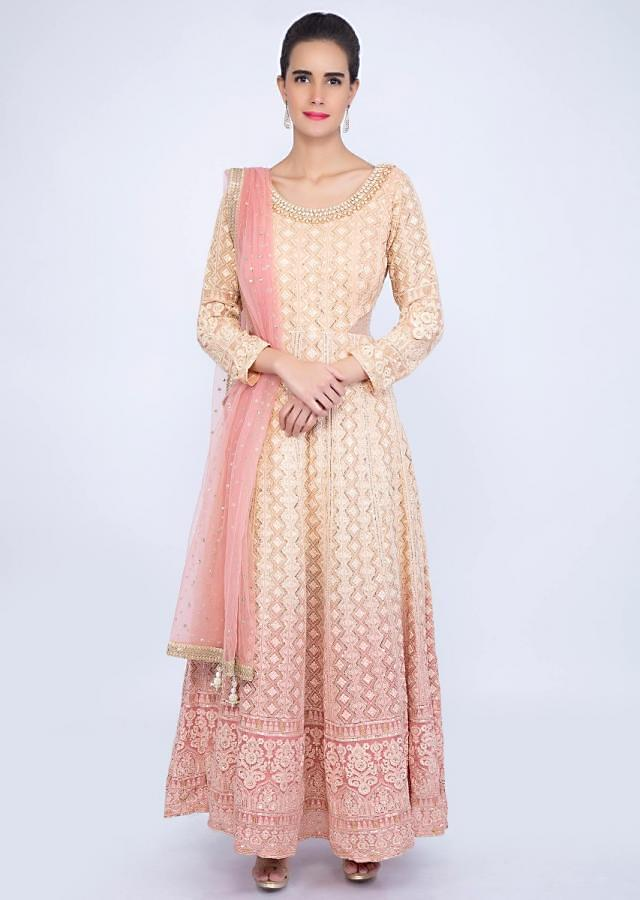 Pink and cream shaded lucknowi embroidery with jewel embroidered neckline only on kalki