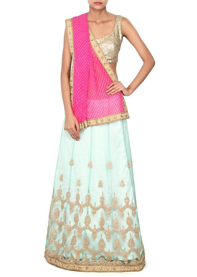 Pink and green lehenga saree enhanced in embroidered butti only on Kalki