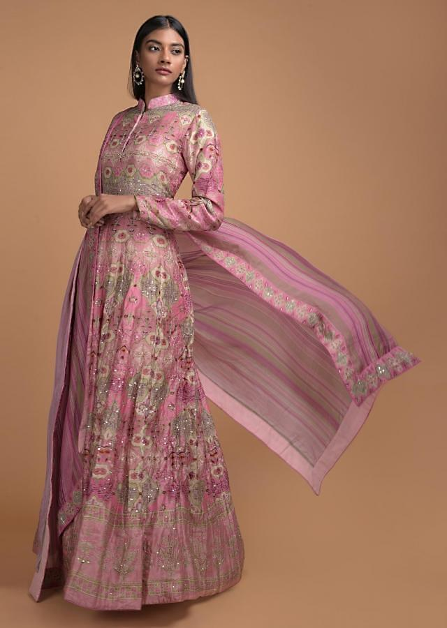Pink And Green Shaded Anarkali Suit In Silk With Patola Print All Over Online - Kalki Fashion