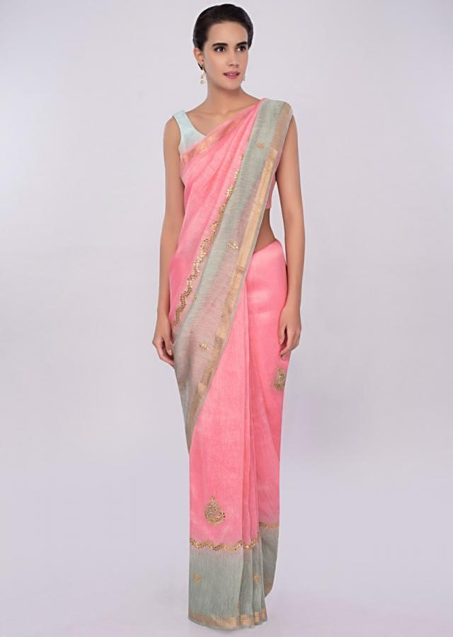 Pink And Green Saree In Shaded Linen With Gotta Embroidery Online - Kalki Fashion