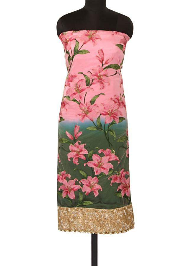 Pink and green unstitched suit featuring in floral print only on Kalki