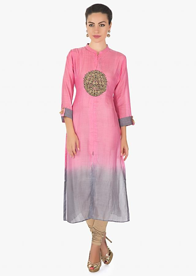 Pink and grey kurti in mul cotton with zardosi cut work embroidery only on Kalki