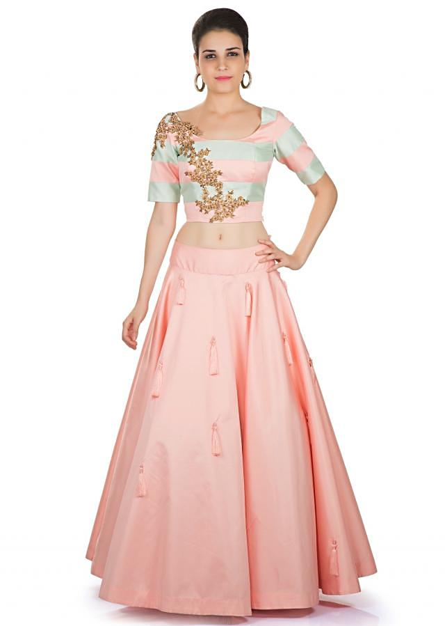 Pink and Ice Blue Taffeta Silk Top and Skirt Featuring Zardosi Cut Work and Tassels only on Kalki