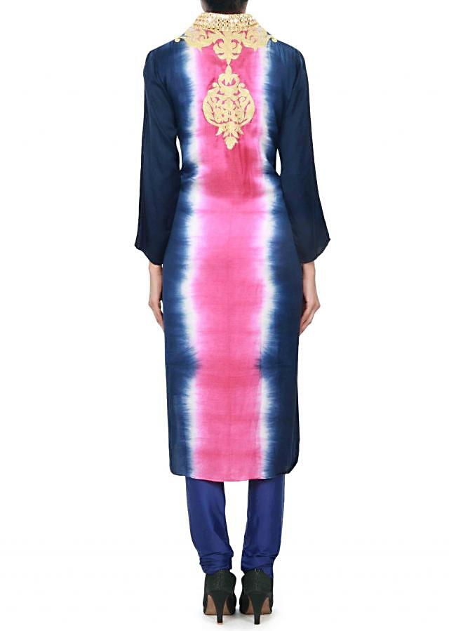 Pink and navy blue kurti adorn in zari embroidery only on Kalki