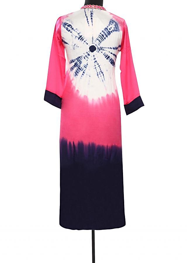 Pink and navy blue kurti with mirror embellished placket only on Kalki