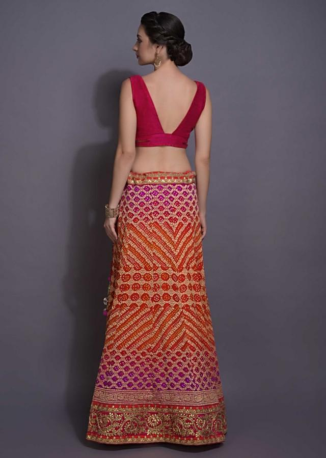 Pink And Orange Ombre Lehenga With Brocade Checks And Bandhani Print Online - Kalki Fashion