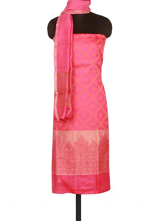 Pink and orange unstitched suit adorn in resham only on Kalki