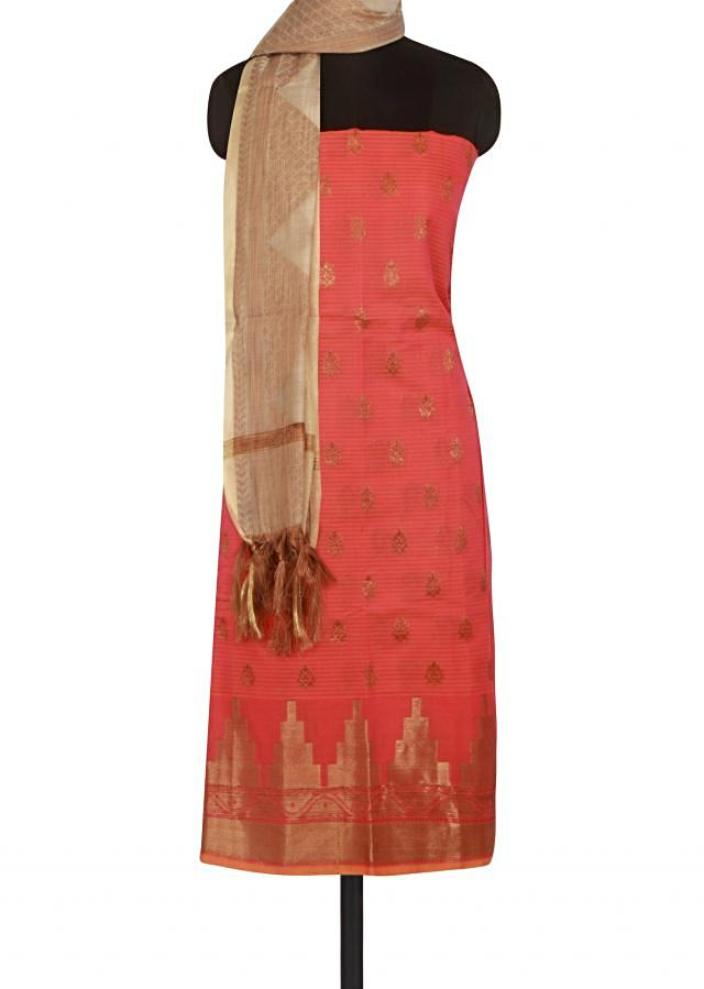 Pink and orange unstitched suit in weave butti only on Kalki