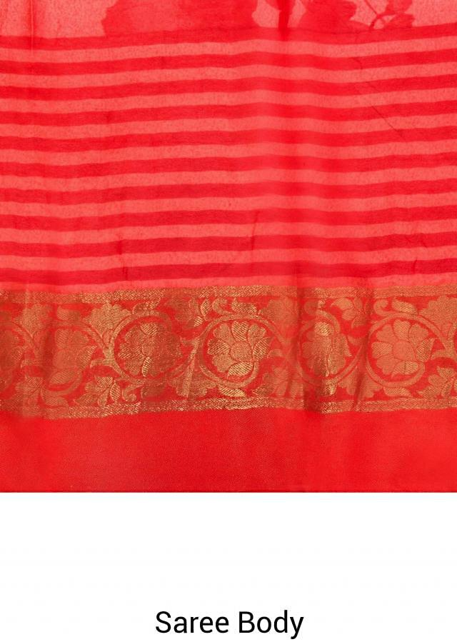 Pink and peach saree in floral print with weaved border only on Kalki