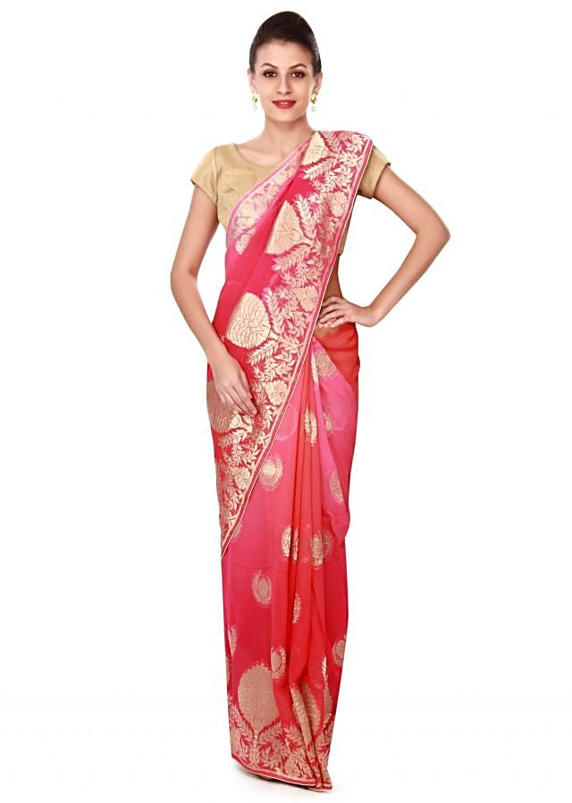 Pink and peach saree in weave border only on Kalki