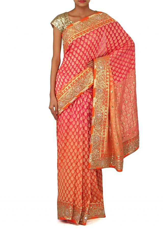 Peach pink shaded saree with gotta patch border only on Kalki