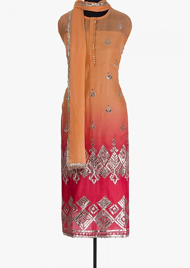 Pink And Peach Unstitched Suit With Shaded Effect And Gotta Patch Embroidery Online - Kalki Fashion