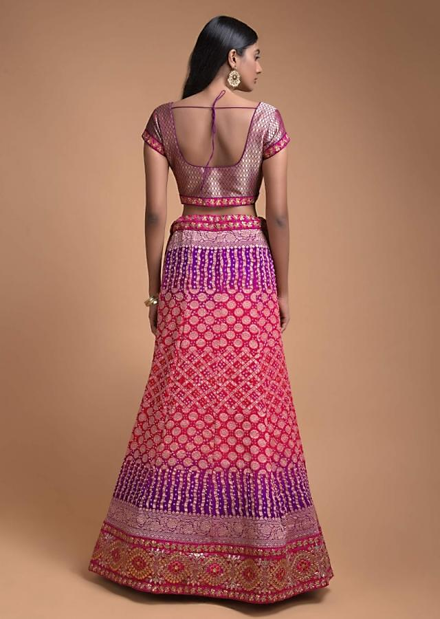 Pink And Purple Shaded Lehenga With Bandhani Print And Weaved Floral Buttis Online - Kalki Fashion