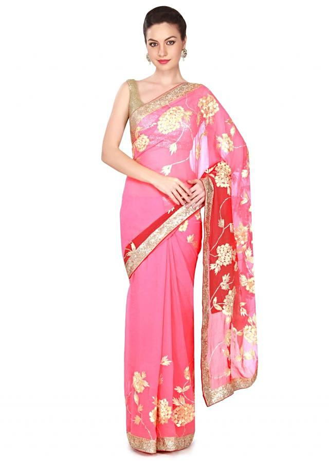 Pink and red chiffon saree with gotta lace embroidery only on Kalki