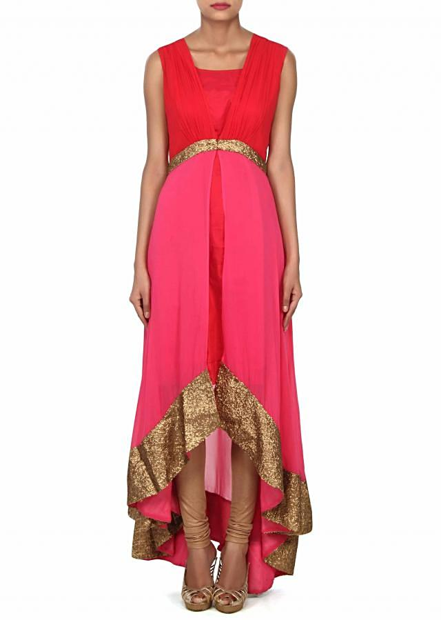 Pink and red kurti enhanced in gathers and sequin embroidery only on Kalki