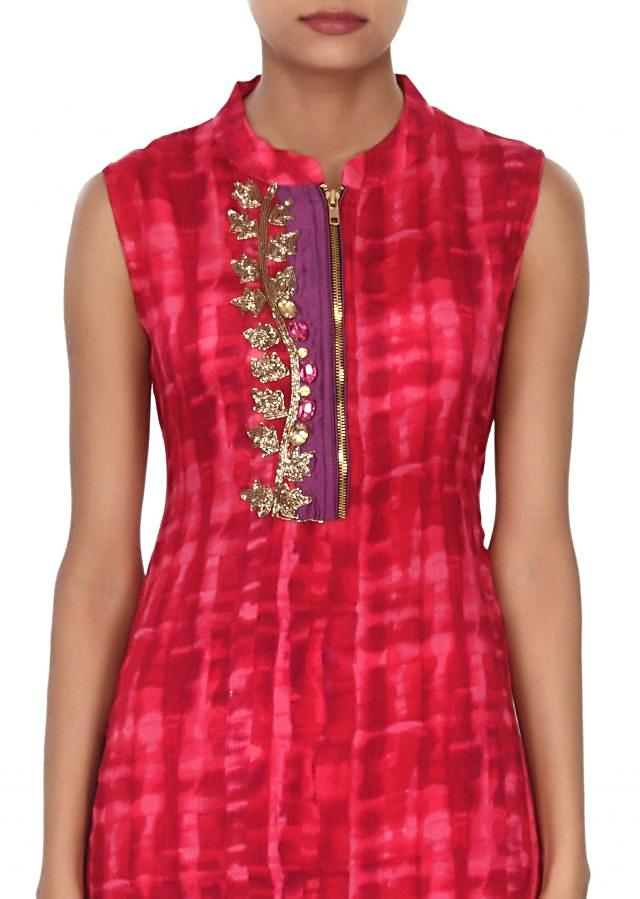Pink and red shaded kurti enhanced in zardosi and stone only on Kalki