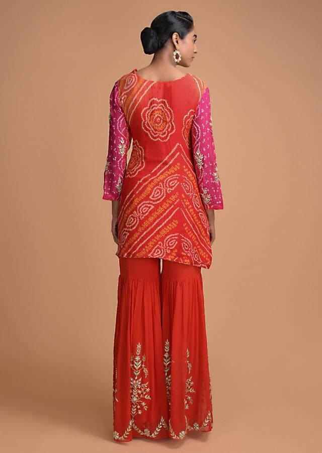 Pink And Red Shaded Sharara Suit With Bandhani Print And Floral Embroidery Online - Kalki Fashion