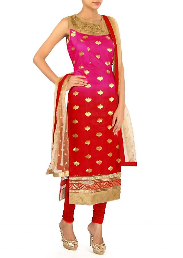 Pink and red straight suit in kardana embroidery only on Kalki
