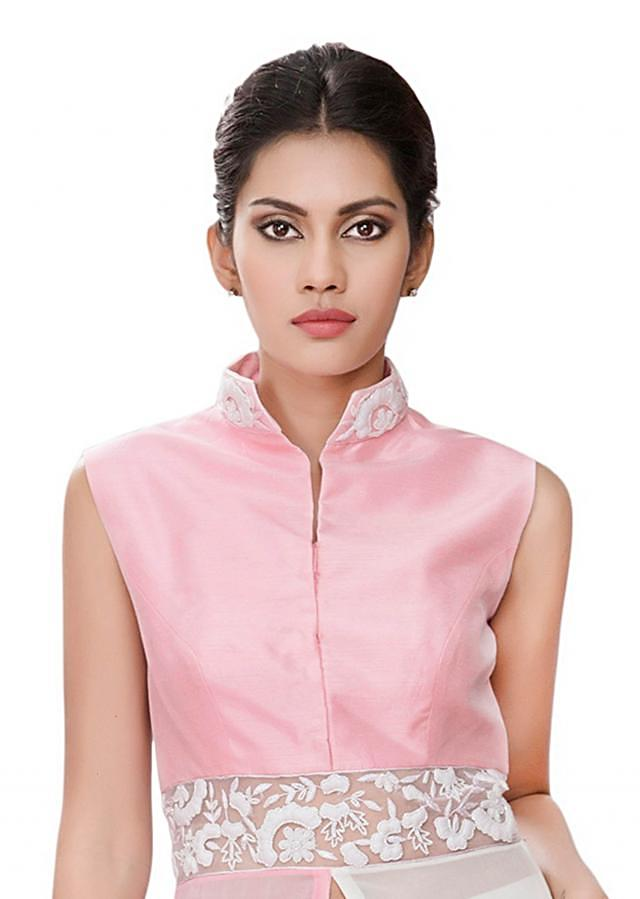 Pink and white half and half tunic with white embroidery