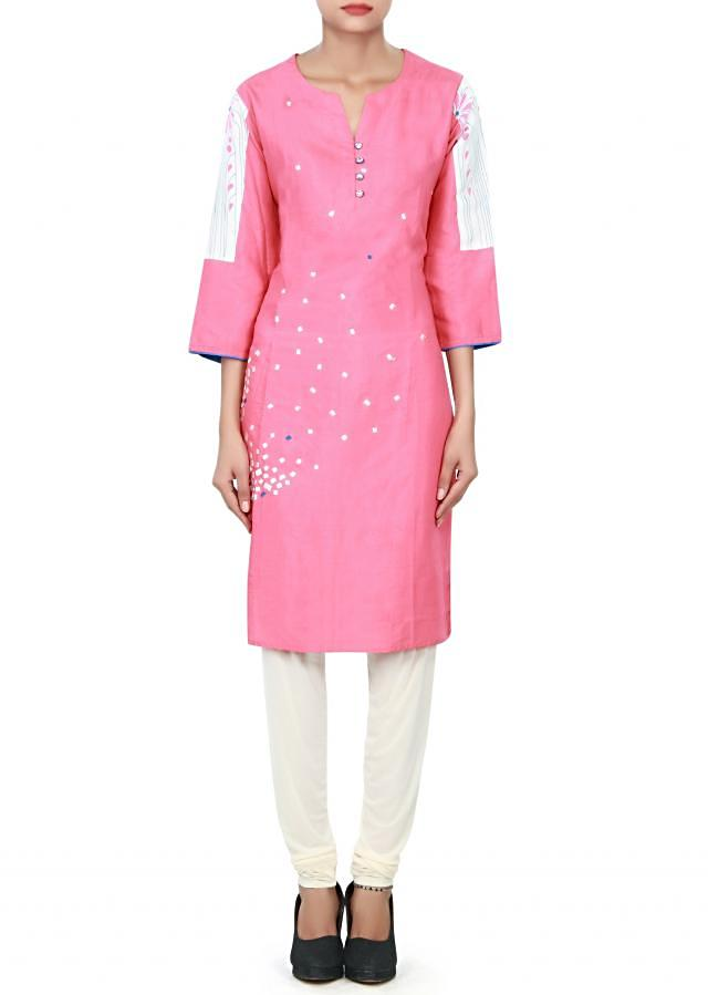 Pink and white kurti enhanced in resham embroidery only on Kalki