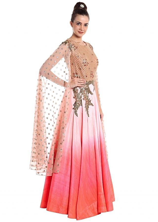 Pink and white raw silk gown with zardosi work and long slit sleeves only on Kalki